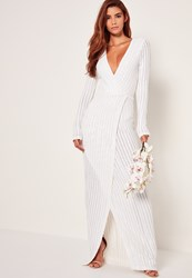 Missguided Bridal Sequin Stripe Wrap Maxi Dress White