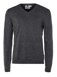 Topman Charcoal Twist V Neck Jumper Mid Grey