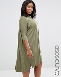 Asos Curve The T Shirt Dress With Curved Hem Khaki Green