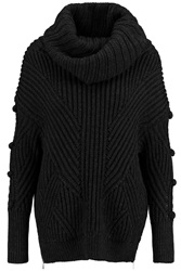 Just Cavalli Ribbed Knit Wool Turtleneck Sweater Gray