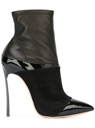 Casadei Pointed Toe Heeled Booties Black