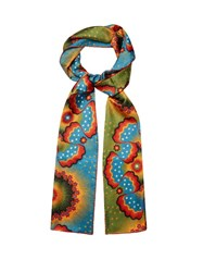 Valentino Enchanted Wonderland Silk Scarf Blue Multi