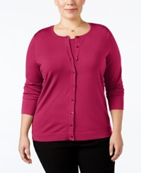 August Silk Plus Size Blend Cardigan Fuchsia Floral