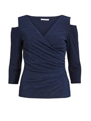 Gina Bacconi 3D Metallic Stripe Knit Top Navy