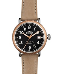 Runwell Rose Golden Coin Edge Watch With Leather Strap 38Mm Shinola