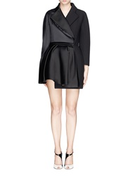Dice Kayek Made To Order 'Calla' Satin Organza Wool Tulip Evening Coat Black