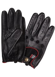 Dents Delta Black Leather Driving Gloves Black And Red