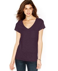 Maison Jules V Neck Pocket Tee Plum Perfect