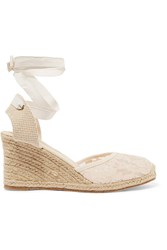 Soludos Lace And Canvas Wedge Espadrille Sandals Nude