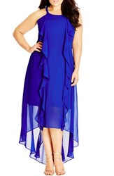 Plus Size Women's City Chic 'Lush Layer' High Low Halter Style Maxi Dress Ultra Blue