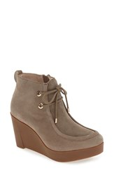 Sudini Women's 'Darlene' Water Resistant Chukka Platform Wedge Boot Taupe Suede