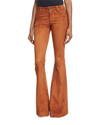 Alice Olivia Suede Flare Pants Tan