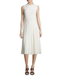 Ralph Lauren Sleeveless Pleated Cady Dress Cream