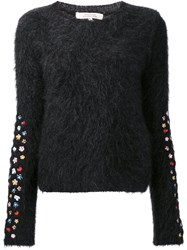 Dorothee Schumacher Embroidered Flower Fluffy Jumper Black