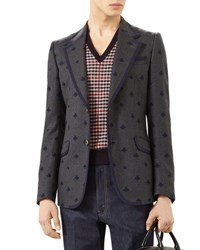 Gucci Heritage Flannel Jacket With Bees Gray