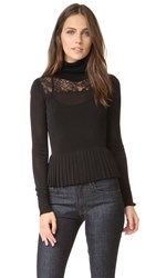 Rachel Zoe Marge Lace Turtleneck Blouse Black
