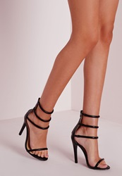Missguided Four Strap Barely There Sandals Black Black