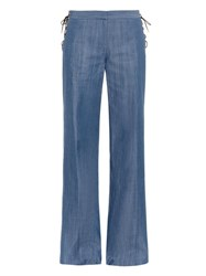 Tibi Sailor Wide Leg Lightweight Denim Trousers