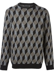 Christopher Kane Geometric Intarsia Sweater Grey