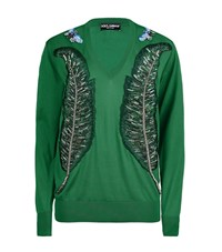 Dolce And Gabbana Leaf V Neck Jumper Female Green