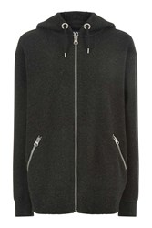 Topshop Boiled Wool Oversized Hoodie By Ivy Park Charcoal Mar