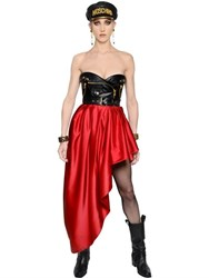 Moschino Biker Faux Leather And Satin Bustier Dress
