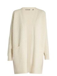 Vince Honeycomb Knit Wool And Yak Blend Cardigan Ivory