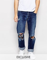 Reclaimed Vintage Levis 501 Jeans With Knee Rips Blue