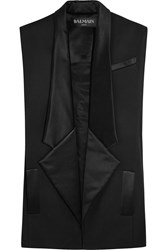 Balmain Silk Trimmed Wool Gabardine Sleeveless Blazer Black