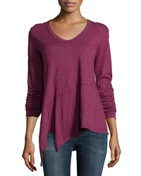Jethro Long Sleeve Slouchy Asymmetric Tee Red Berry