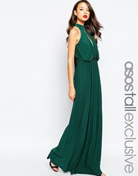Asos Tall Exclusive Halter Plunge Maxi Dress With Embellished Waist Green