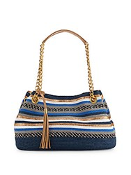 Saks Fifth Avenue Striped Straw Satchel Navy