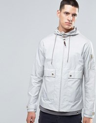 Pretty Green Jacket With Hood Showerproof In Slim Fit Grey Light Grey
