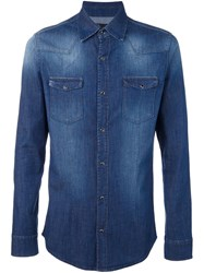 Daniele Alessandrini Button Down Denim Shirt Blue