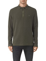 Allsaints Clash Long Sleeve Polo Shirt Pewter Brown