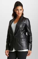 Mynt 1792 Faux Leather Blazer Plus Size Caviar