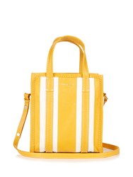 Balenciaga Bazar Mini Leather Tote Yellow Stripe