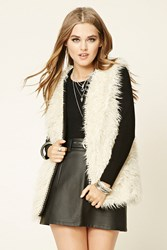Forever 21 Shaggy Faux Fur Vest Cream