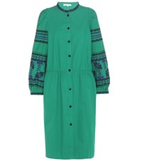 Vanessa Bruno Embroidered Cotton Dress Green