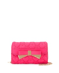 Betsey Johnson Be Mine Forever Quilted Wallet On Chain Fuchsia