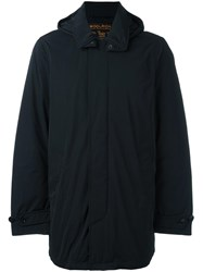 Woolrich Hooded Mid Length Coat Blue