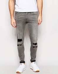 Waven Jeans Erling Spray On Super Skinny Fit Seal Grey Ripped And Cut Out Knee Grey