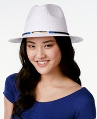 Vince Camuto Color Band Panama Hat White