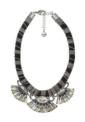Hallhuber Plastic Fan Embellished Collar Necklace