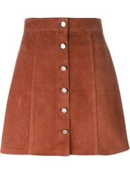 Theory Buttoned A Line Skirt Brown
