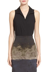 Donna Karan Collection Sleeveless Stretch Cotton Bodysuit Black