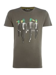 Duck And Cover Feral Ducks Graphic T Shirt Coal