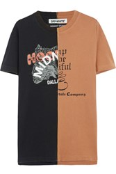 Off White Printed Cotton Jersey T Shirt Light Brown