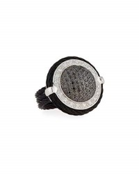 Alor Noir Round Black And White Diamond Cable Ring