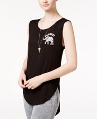 Pretty Rebellious Juniors' Wild Heart Graphic Tank Top Black